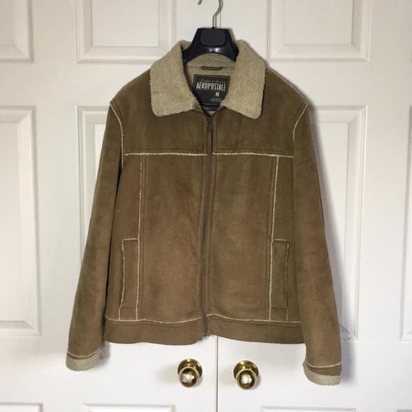 Aeropostale Men's Faux Shearling Jacket.- Medium